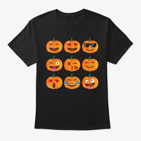 Pumpkin Emoji T Shirt, Pumpkin Shirt Emo Black T-Shirt Front
