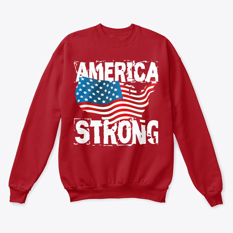 America Strong Collection Deep Red  T-Shirt Front