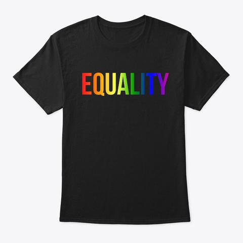 Lgbtq Flag Colors Equality Lesbian Gay Black T-Shirt Front