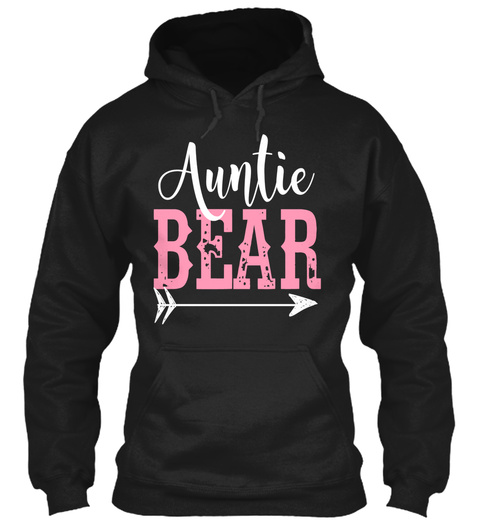 Auntie Bear Black T-Shirt Front