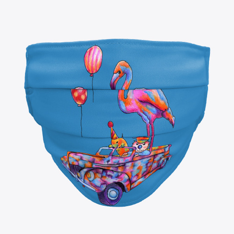 Monica Hulsing Flamingo Balloon Car Denim Blue T-Shirt Front