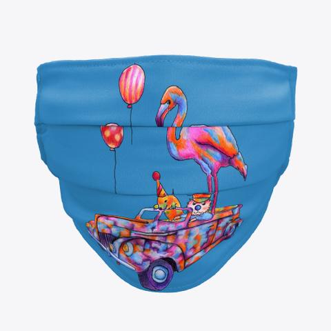 Monica Hulsing Flamingo Balloon Car Denim Blue T-Shirt Front