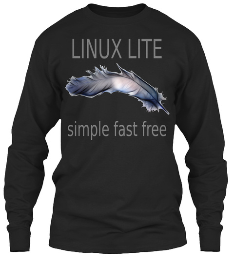 Linux Lite Simple Fast Free Black Long Sleeve T-Shirt Front