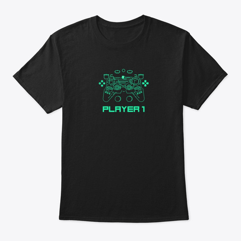 Player 1 Black T-Shirt Front