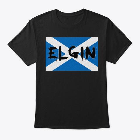 Elgin St Andrew's Cross Black T-Shirt Front