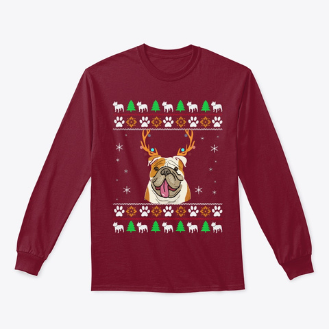 Bulldog With Antlers In An Ugly Chris Cardinal Red T-Shirt Front