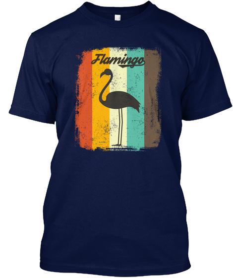 Flamingo Retro 70s Vintage Bird Lover Navy T-Shirt Front