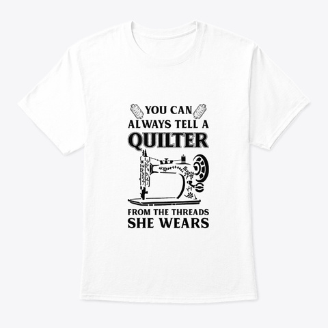 Quilting Sewing From Threads She Wears White T-Shirt Front