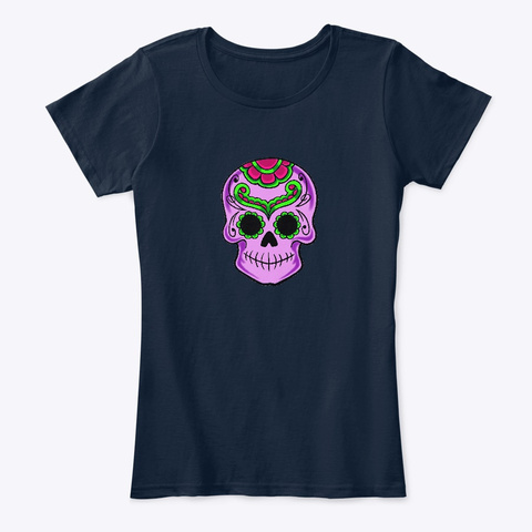 Sugar Skull: Tattoo Gothic Style New Navy T-Shirt Front