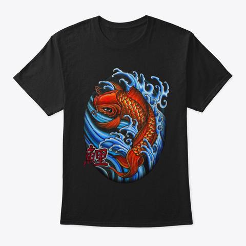 Koy Fish Tattoo Style Design Black T-Shirt Front