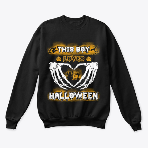 This Boy Loves Halloween  Black T-Shirt Front
