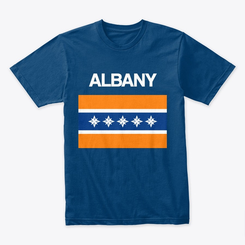 Albany Flag Merchandise Cool Blue T-Shirt Front