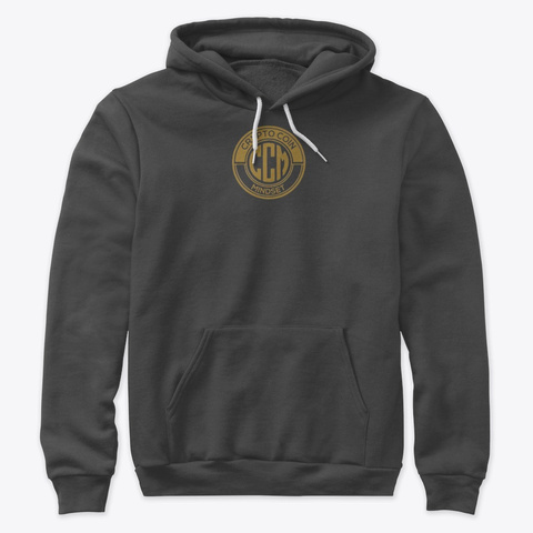 Official Crypto Coin Mind Set Logo Merch Dark Grey Heather T-Shirt Front