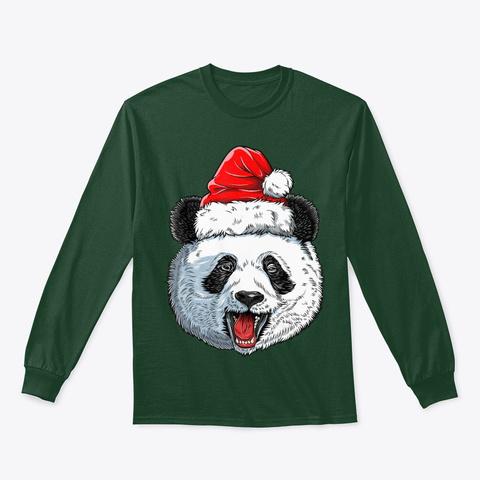 Panda Christmas Santa Hat Funny Xmas Forest Green T-Shirt Front