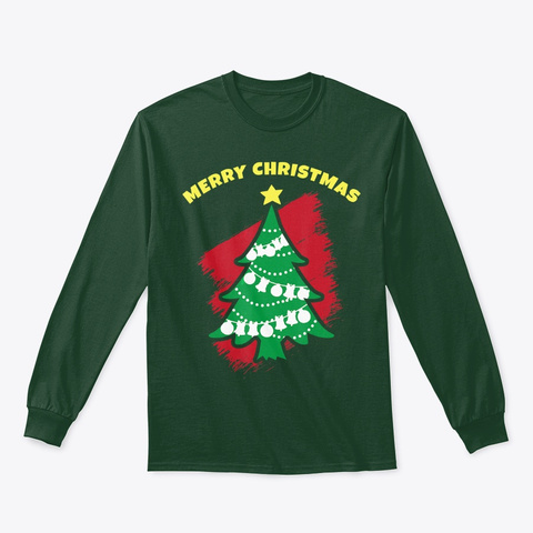 Xmas Tree Funny Ugly Christmas T Shirt Forest Green T-Shirt Front