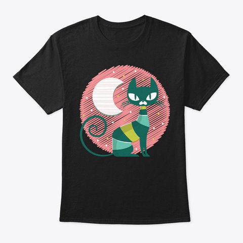 Lovely Cat Moon For Kitten Lover Black T-Shirt Front