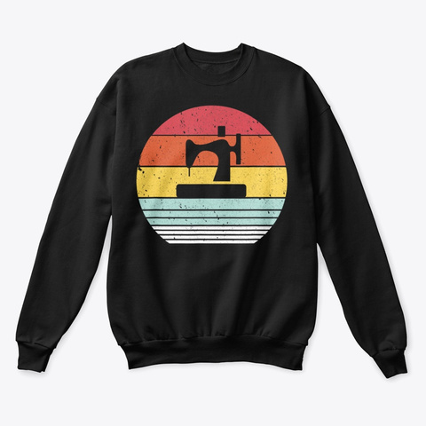 Sewing Machine Shirt Retro Style T Shirt Black T-Shirt Front