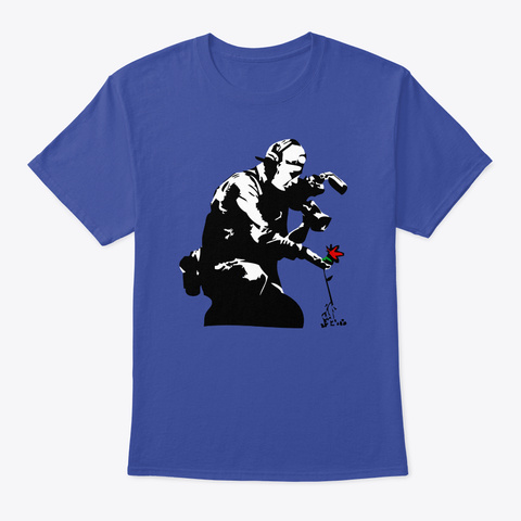 Banksy Flower Photography Deep Royal T-Shirt Front