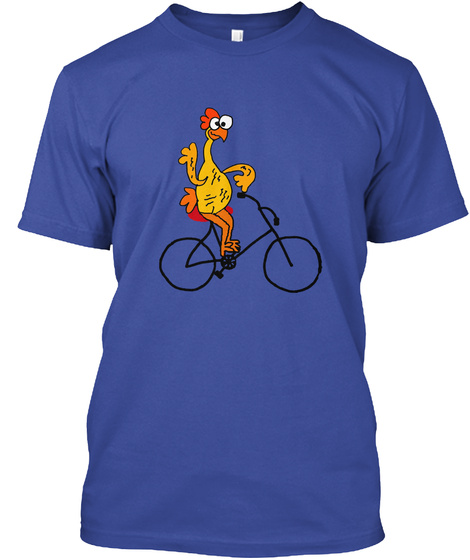 Funny Rubber Chicken Riding Bicycle Deep Royal T-Shirt Front