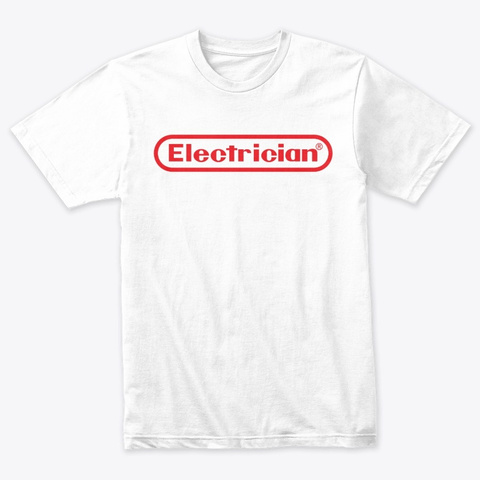 Gamer Style Electrician Tee Heather White T-Shirt Front