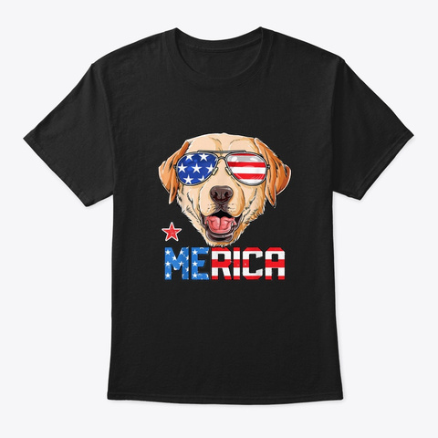 Labrador 4th Of July T Shirt Merica  Black T-Shirt Front