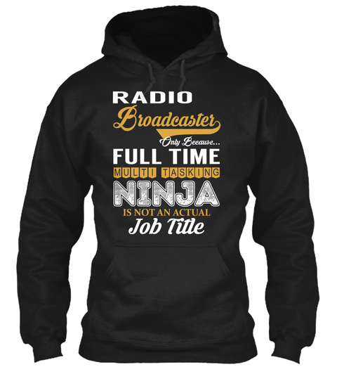 Radio Broadcaster Black T-Shirt Front