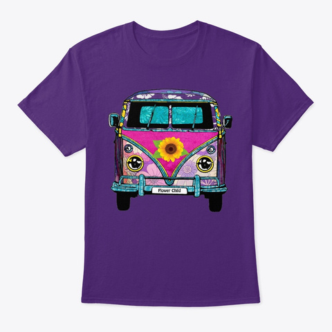 Pink Floral  Tropic Van Purple T-Shirt Front