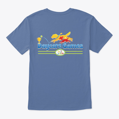 The Dog Gurus Daycare Games Store Denim Blue T-Shirt Back
