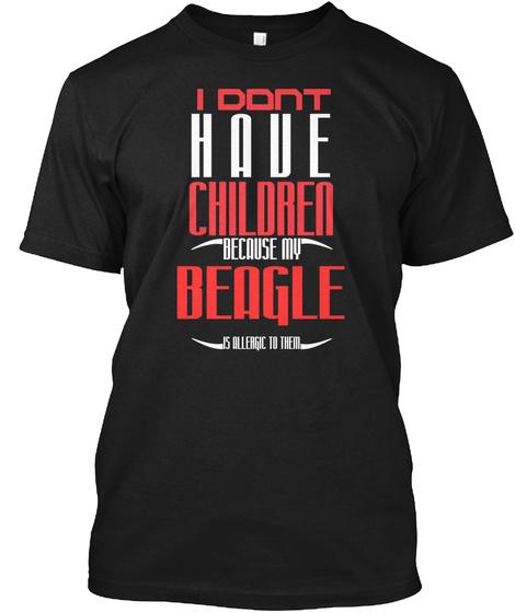 Design Dog Allergic Beagle Black T-Shirt Front