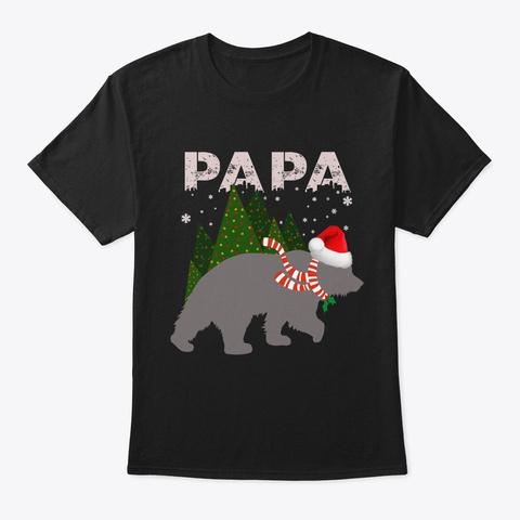 Papa Bear Christmas Pajamas Matching San Black T-Shirt Front