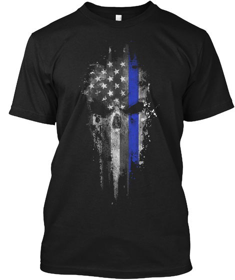 Thin Blue Line: Evil Never Sleeps Black T-Shirt Front