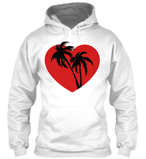 Palm Heart White T-Shirt Front