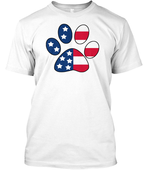 Paws Itively Patriotic Paw Print T Shirt White T-Shirt Front