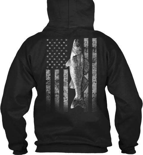 Real Walleye Fishing Flag  Black Sweatshirt Back