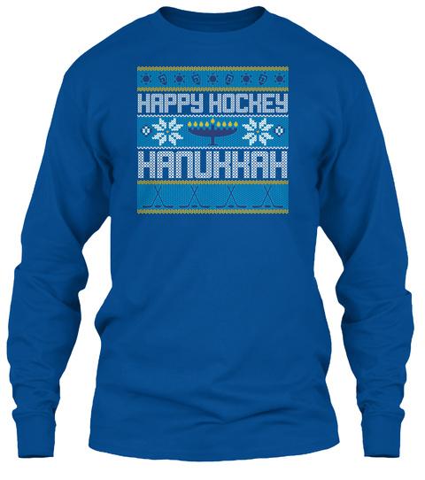 Happy Hockey Hanukkah Royal T-Shirt Front