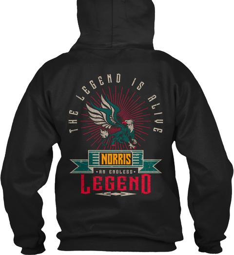 Norris   Alive And Endless Legend Black T-Shirt Back
