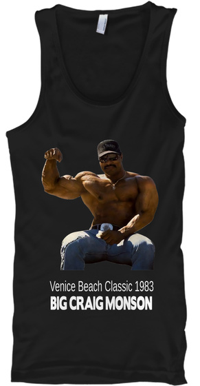 Venice Beach Classic 1983 Big Craig Monson Black T-Shirt Front