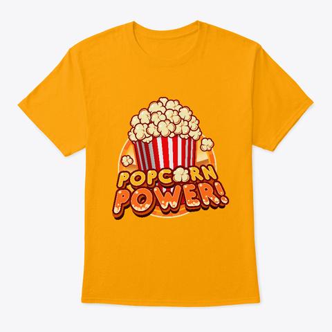 Popcorn Power T Shirt Gold T-Shirt Front