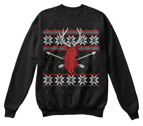 Bow Hunting Deer Ugly Christmas Sweater Black T-Shirt Front