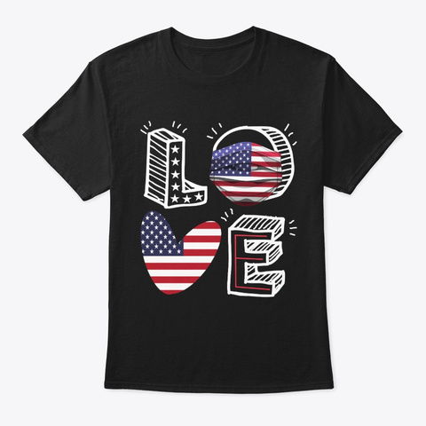4th Of July Usa Flag Love Mask Tee Black T-Shirt Front