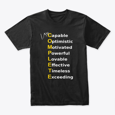 I Am Complete   Word Power Black T-Shirt Front