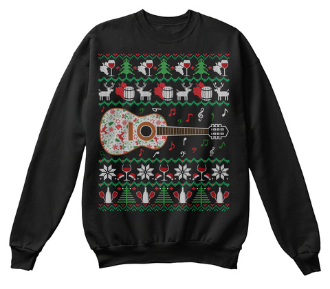 Love Wine Guitar Ugly Christmas Sweater Black T-Shirt Front