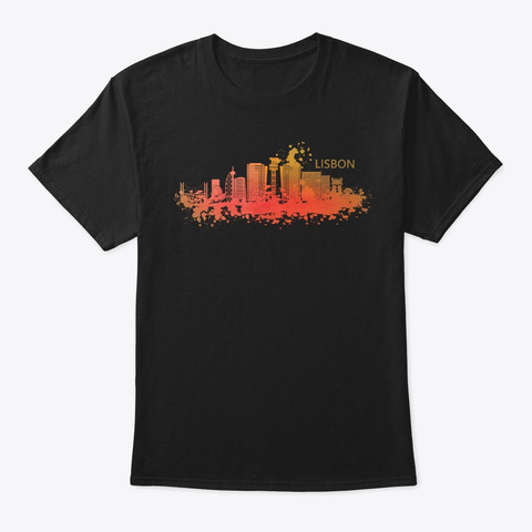 Lovely Lisbon Skyline Watercolor Style Black T-Shirt Front