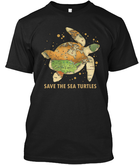 Save The Sea Turtles Black T-Shirt Front