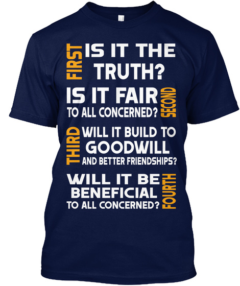 Four Way Test T Shirt Navy T-Shirt Front