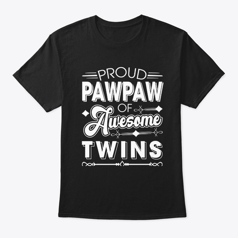 Proud Pawpaw Of Awesome Twins Black T-Shirt Front