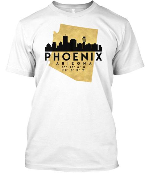 Phoenix Arizona Skyline Map Art T Shirt White T-Shirt Front