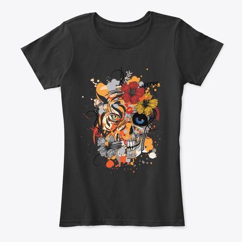 Tiger And Skull Black T-Shirt Front