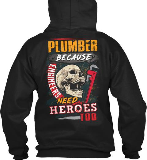 Sarcastic Plumber Black T-Shirt Back