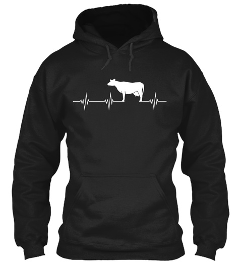 Cow Heartbeat Black Sweatshirt Front